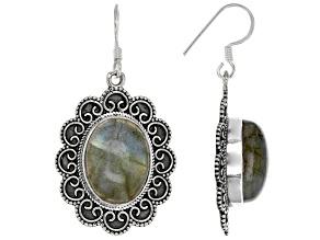 Pre-Owned Gray Labradorite Sterling Silver Dangle Earrings
