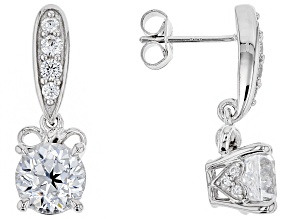 Pre-Owned white cubic zirconia rhodium over sterling silver earrings