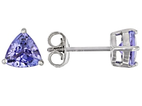 Pre-Owned Blue Tanzanite Rhodium Over Sterling Silver Solitaire Stud Earrings 1.26ctw