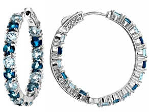 Pre-Owned Blue Topaz Rhodium Over Silver Earrings 9.24ctw