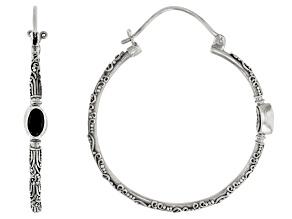 Pre-Owned Black Spinel Sterling Silver Hoop Earrings 1.10ctw