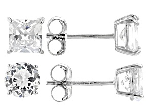 Pre-Owned White Cubic Zirconia Rhodium Over Sterling Silver Stud Earrings- Set of 2 4.45ctw