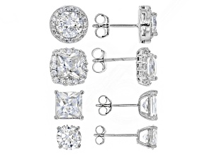 Pre-Owned White Cubic Zirconia Rhodium Over Sterling Silver Earrings 12.42ctw