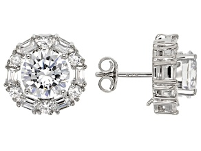 Pre-Owned White Cubic Zirconia Rhodium Over Sterling Silver Earrings 9.08ctw