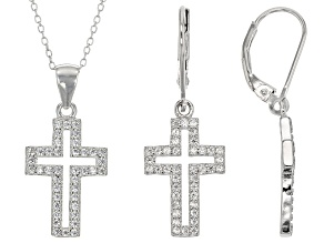 Pre-Owned White Cubic Zirconia Rhodium Over Sterling Silver Pendant With Chain And Earrings 1.20ctw