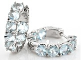 Pre-Owned Blue Brazilian Aquamarine Rhodium Over Sterling Silver Inside / Outside Hoop Earrings 6.72
