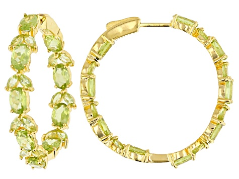 Pre-Owned Green peridot 18k gold over silver earrings 9.57ctw