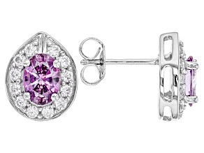 Pre-Owned Swarovski ® Purple Zirconia & White Cubic Zirconia Rhodium Over Silver Earrings 3.48ctw