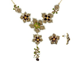 Pre-Owned  Multi-color Crystal Gold Tone Floral Necklace & Earring Set