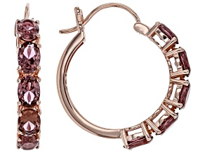Pre-Owned Blush and White Cubic Zirconia 18k Rose Gold Over Sterling Silver Hoop Earrings 8.15ctw