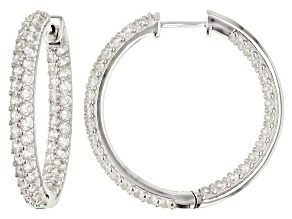 Pre-Owned White Zircon Rhodium Over Sterling Silver Hoop Earrings 8.50ctw.