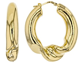 Pre-Owned Moda Al Massimo™ 18K Yellow Gold Over Bronze Center Twist Hoop Earrings
