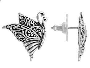 "Pre-Owned Sterling Silver ""This Too Shall Pass"" Filigree Butterfly Stud Earrings"
