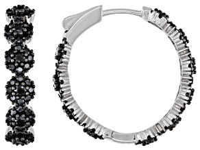 Pre-Owned Black Spinel Rhodium Over Sterling Silver Hoop Earrings 2.67ctw