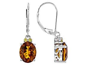 Pre-Owned Orange Madeira Citrine Sterling Silver Dangle Earrings 4.10ctw