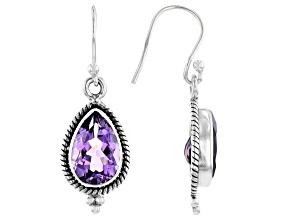 Pre-Owned Purple Amethyst Rhodium Over Sterling Silver Dangle Earrings 4.90ctw