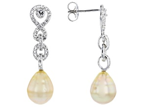 Pre-Owned Golden Cultured South Sea Pearl 9-10mm And White Topaz 0.53ctw Rhodium Over Silver Drop Ea