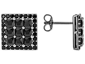 Pre-Owned Black Spinel  Rhodium Over Sterling Silver Stud Earrings 3.78ctw