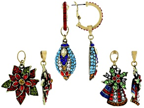 Pre-Owned Mutli Color Crystal Antiqued Gold Tone Set of 3 Interchangeable Holiday Earrings