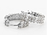 Pre-Owned White Cubic Zirconia Rhodium Over Sterling Silver Hoop Earrings 2.39ctw