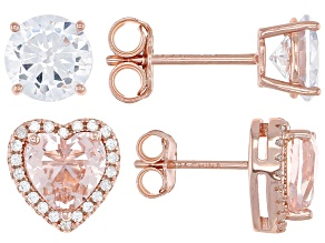Pre-Owned Pink And White Cubic Zirconia 18k Rose Gold Over Sterling Silver Earrings- Set of 2 5.18ct