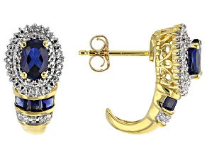 Pre-Owned Blue Lab Created Sapphire 14k Yellow Gold Over Sterling Silver Earrings 1.33ctw