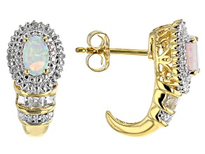 Pre-Owned White Lab Created Opal 14k Yellow Gold Over Sterling Silver Earrings 0.66ctw