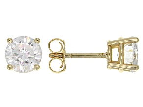 Pre-Owned Moissanite Fire® 1.60ctw Diamond Equivalent Weight Round 14k Yellow Gold Stud Earrings