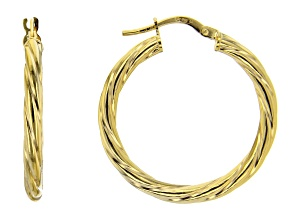 Pre-Owned 10K Yellow Gold 30MM Torchon Tube Hoop Earrings