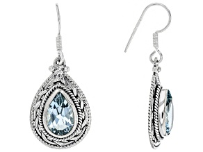 Pre-Owned Blue Topaz Solitaire Sterling Silver Earrings 8.00ctw