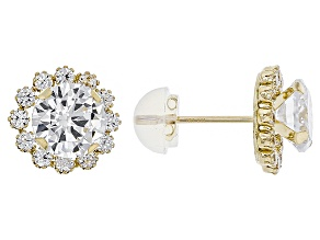 Pre-Owned White Cubic Zirconia 10k Yellow Gold Earrings 3.40ctw