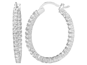Pre-Owned Bella Luce® 3.72ctw Diamond Simulant Rhodium Over Silver Oval Hoop Earrings