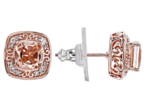 Pre-Owned Morganite Simulant And White Cubic Zirconia 18k Rose Gold Over Sterling Earrings 1.62ctw