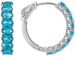 Pre-Owned Neon apatite rhodium over sterling silver hoop earrings 3.78ctw
