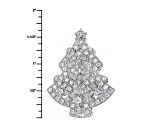 Pre-Owned White Cubic Zirconia Rhodium Over Silver Brooch 3.43ctw