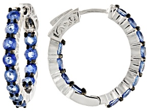 Pre-Owned Blue kyanite rhodium over  silver inside/outside hoop earrings 4.75ctw