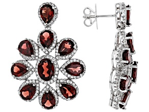 Pre-Owned Red Garnet Rhodium Over Sterling Silver Earrings 21.06ctw