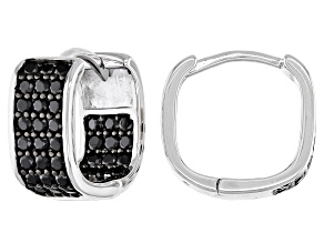 Pre-Owned Black Spinel Rhodium Over Silver Huggie Earrings 1.17ctw