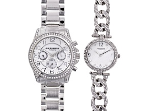 Pre-Owned Ladies White Crystal Silver Tone Watch Set Of 2