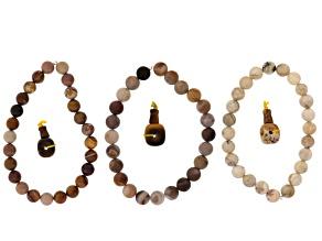Pre-Owned Dakota Stones™ Mala Neutral Boho Stack Bead Set incl 3 Bead Strands And 3 Mala Beads