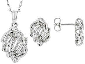 Pre-Owned White Diamond Rhodium Over Sterling Silver Pendant And Earrings Jewelry Set 0.10ctw