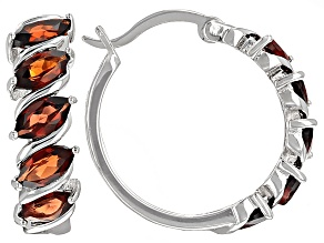 Pre-Owned Red Garnet Sterling Silver Hoop Earrings 2.50ctw