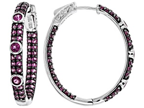 Pre-Owned Purple rhodolite rhodium over sterling silver hoop earrings 3.72ctw