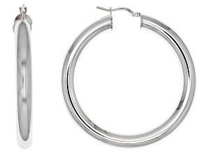 Pre-Owned Moda Al Massimo® Rhodium Over Bronze 51mm X 6mm Polished Hoop Earrings