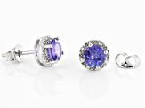 Pre-Owned Blue tanzanite rhodium over sterling silver stud earrings 1.76ctw