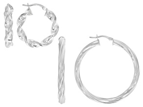 Pre-Owned Sterling Silver Set of 2 39MM and 23MM Twisted Hoop Earrings