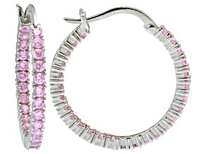 Pre-Owned Bella Luce ® 3.24ctw Pink Diamond Simulant 25mm Round Sterling Silver Hoop Earrings