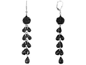Pre-Owned Black Spinel Rhodium Over Sterling Silver Earrings 62.00ctw