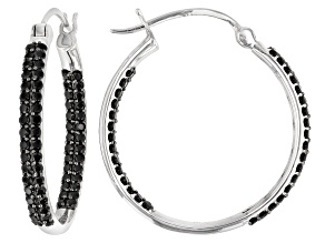 Pre-Owned Black Spinel Rhodium Over Silver Earrings 3.27ctw