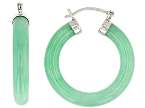 Pre-Owned Green Jadeite Rhodium Over Rhodium Over Sterling Silver Hoop Earrings 30x4.5mm